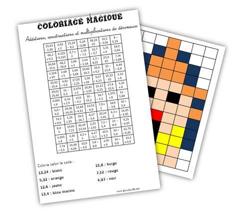 Coloriage Magique Decimaux.Coloriage Magique Calculs De Decimaux