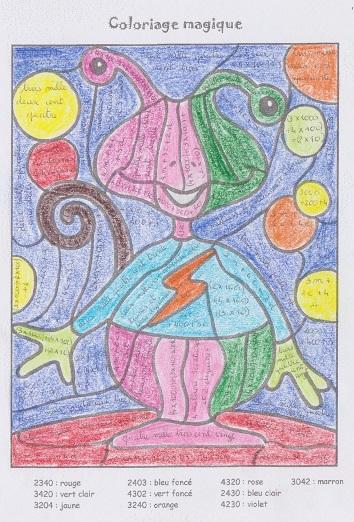Coloriage Magique Encadrer Des Fractions.Coloriages Magiques